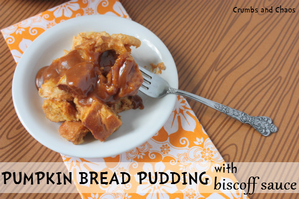 Pumpkin Bread Pudding with Biscoff Sauce - Crumbs and Chaos
